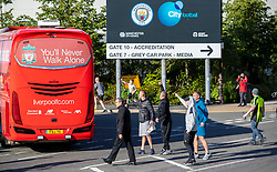 MANCHESTER, ENGLAND - Thursday, July 2, 2020: Manchester City supporters shout and gesticulate towards the Liverpool team bus before the FA Premier League match between Manchester City FC and Liverpool FC at the City of Manchester Stadium. The game was played behind closed doors due to the UK government's social distancing laws during the Coronavirus COVID-19 Pandemic. This was Liverpool's first game as Premier League 2019/20 Champions. (Pic by Propaganda)