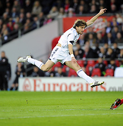 Swansea City's Michu shoots - Photo mandatory by-line: Joe Meredith/JMP - Tel: Mobile: 07966 386802 03/11/2013 - SPORT - FOOTBALL - The Cardiff City Stadium - Cardiff - Cardiff City v Swansea City - Barclays Premier League