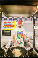 NAPLES, ITALY - 16 SEPTEMBER 2017: at Pizzeria Sorbillo in Naples, Italy, on September 16th 2017.