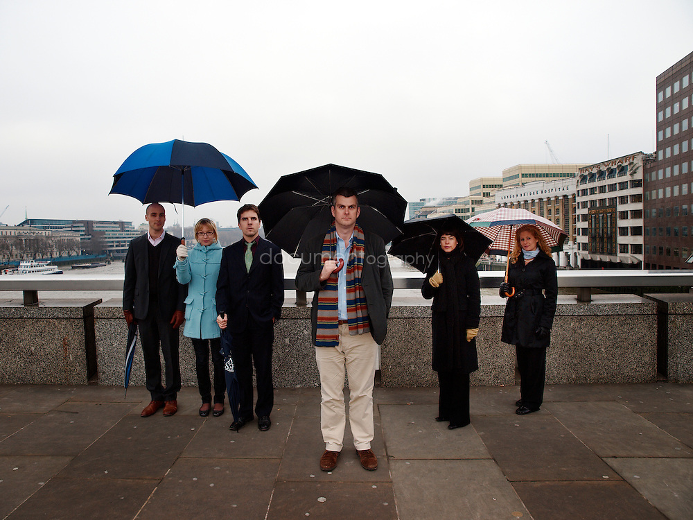 Martin Brookes (centre), Chief Executive of New Philanthropic Capital with behind him from left to right  - Gustav Lofgren - Analyst - Eleanor Stringer - Analyst - Simon Blake - Senior Analyst - Sue Wixley - Head of Communication and Marketing and Liz Sklaroff - Senior Consultant, London Bridge, London, UK..
