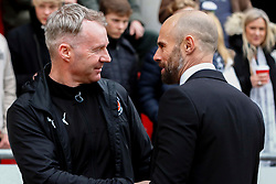 Fleetwood Town manager John Sheridan and Rotherham United manager Paul Warne shake hands before kick-off - Mandatory by-line: Ryan Crockett/JMP - 07/04/2018 - FOOTBALL - Aesseal New York Stadium - Rotherham, England - Rotherham United v Fleetwood Town - Sky Bet League One