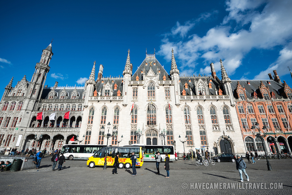 The front of the Provincial Court building in the Markt (Market Square) in the historic center of Bruges, a UNESCO World Heritage site.
