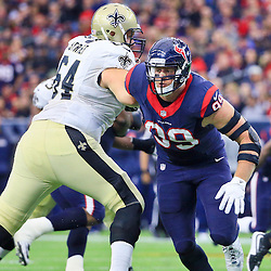 Nov 29, 2015; Houston, TX, USA; Houston Texans defensive end J.J. Watt (99) against the New Orleans Saints during the first half of a game at NRG Stadium. Mandatory Credit: Derick E. Hingle-USA TODAY Sports