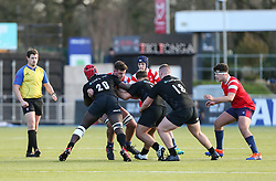 Charlie Rice of Bristol Bears U18 cant find a way through the Saracens u18 defence - Mandatory by-line: Arron Gent/JMP - 12/01/2020 - RUGBY - Allianz Park - London, England - Saracens U18 v Bristol Bears U18 - Premiership U18 Academy