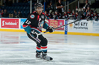 KELOWNA, CANADA, OCTOBER 16 - Tyrell Goulbourne #12 of the Kelowna Rockets skates on the ice against the Lethbridge Hurricanes on Wednesday, October 16, 2013 at Prospera Place in Kelowna, British Columbia (photo by Marissa Baecker/Getty Images)***Local Caption***