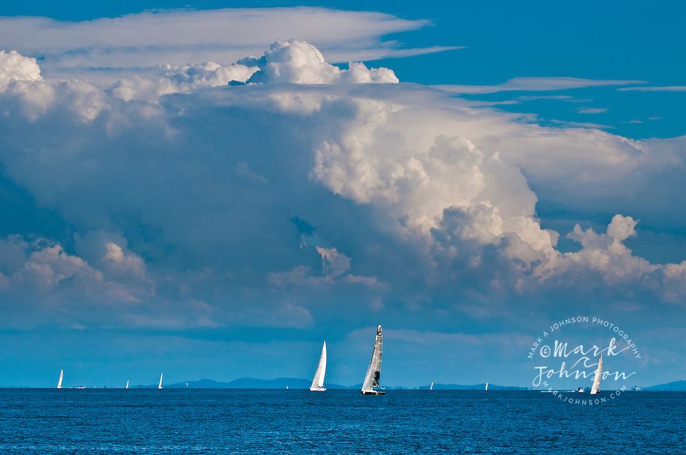 Sailboats in the Brisbane to Gladstone yacht race, Moreton Bay, Queensland, Australia