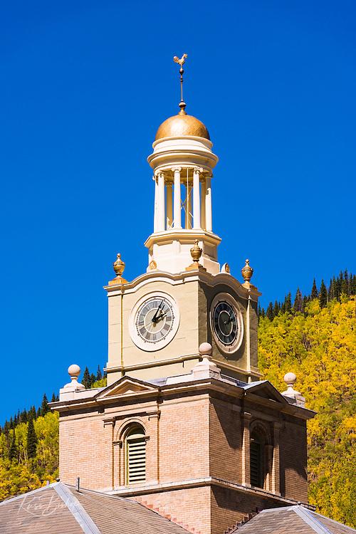 Historic courthouse and fall color, Silverton, Colorado USA