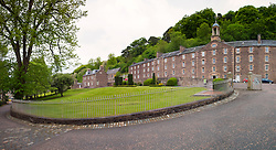View of historic New Lanark UNESCO World Heritage site in Lanarkshire, Scotland, United Kingdom