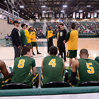 Starting lineup for the Men's Basketball home game on January 6 at Centre for Kinesiology, Health and Sport. Credit: Arthur Ward/Arthur Images