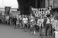 Supporters marching with the People's  March for Jobs, Yorkshire to London. Sheffield 08/05/1981