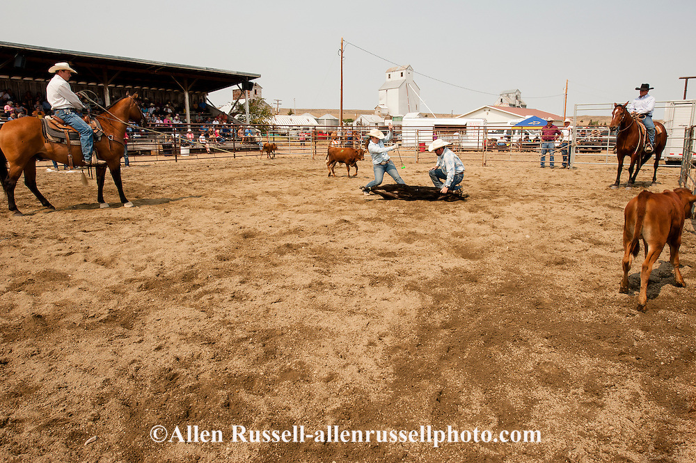 Wilsall Ranch Rodeo, Calf Branding Competition, Tyler Serrazin, Jessie Serrazin, Garrett Hamm, Jaime Wood, Inlaws and Outlaws team, Montana