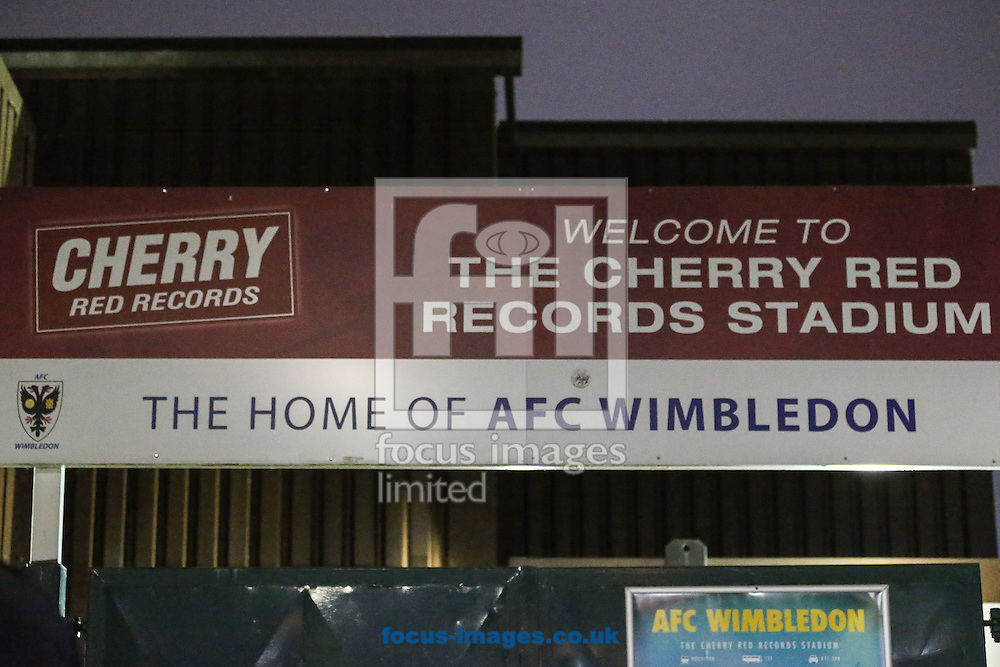General view of Cherry Red Records Stadium, home of AFC Wimbledon Football Club before the FA Cup match against Liverpool at the Cherry Red Records Stadium, Kingston<br /> Picture by David Horn/Focus Images Ltd +44 7545 970036<br /> 05/01/2015