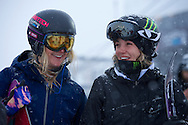 Hannah Teter and Kaitlyn Farrington during SuperPipe Practice at the 2013 X Games Tignes in Tignes, France. ©Brett Wilhelm/ESPN