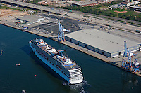 Aerial phot of passenger ship Carnival Pride arriving at Maryland Cruise Terminal in Baltimore on inaugural sail