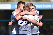 Bury Forward, George Miller (29) goal scorer and Bury Forward, Ryan Lowe (39) celebrate 2-0  during the EFL Sky Bet League 1 match between Bury and Northampton Town at the JD Stadium, Bury, England on 22 April 2017. Photo by Mark Pollitt.