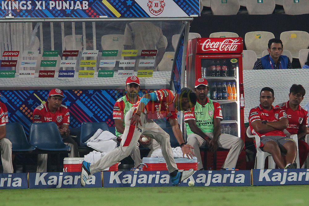 Anureet SINGH of the Kings XI Punjab saves the boundary during the second semi final match of the Oppo Champions League Twenty20 between the Kings XI Punjab and the Chennai Superkings held at the Rajiv Gandhi Cricket Stadium, Hyderabad, India on the 2nd October 2014<br /> <br /> Photo by:  Ron Gaunt / Sportzpics/ CLT20<br /> <br /> <br /> Image use is subject to the terms and conditions as laid out by the BCCI/ CLT20.  The terms and conditions can be downloaded here:<br /> <br /> http://sportzpics.photoshelter.com/gallery/CLT20-Image-Terms-and-Conditions-2014/G0000IfNJn535VPU/C0000QhhKadWcjYs