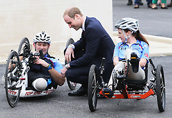 The  Duke of Cambridge talks to wounded service personnel Staff Sergeant Steve Arnold and Corporal Claire Edwards during a visit to the Help For Heroes Recovery Centre in Tidworth, Wiltshire, Monday, 20th May 2013 Picture by:  Stephen Lock / i-Images
