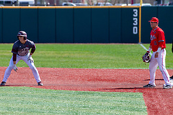 NORMAL, IL - April 08: Jack Duffy takes a lead from 1st base and Jack Butler during a college baseball game between the ISU Redbirds  and the Missouri State Bears on April 08 2019 at Duffy Bass Field in Normal, IL. (Photo by Alan Look)