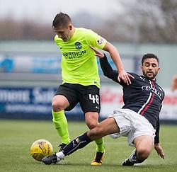 Hibernian's Scott Martin and Falkirk's Tom Taiwo. Falkirk 1 v 2 Hibernian, Scottish Championship game played 31/12/2016 at The Falkirk Stadium .
