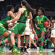 March 31, 2019; Portland, OR, USA;  Oregon Ducks forward Ruthy Hebard (24) reacts after a play in the Elite Eight of the NCAA Women's Tournament at Moda Center.<br /> Photo by Jaime Valdez