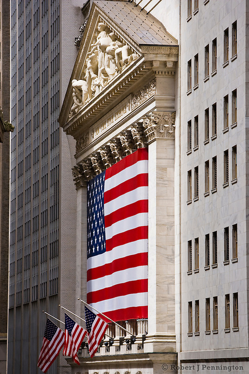 Stock Exchange in Manhattan with Flag, New York City, NY, USA