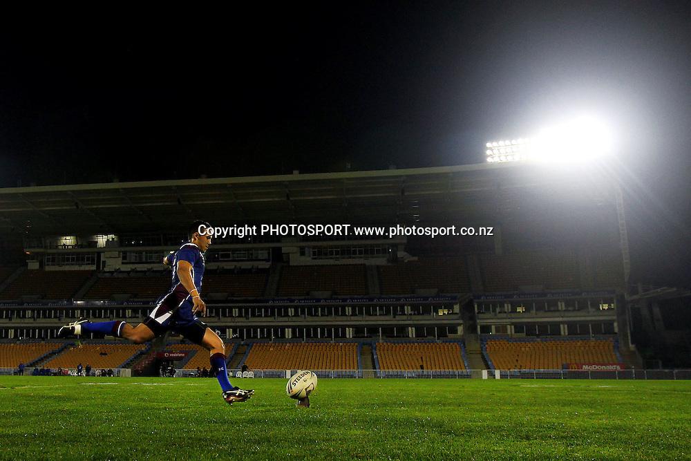 Akarana's Sam Cook kicks a conversion. Pirtek NZRL National Premiership Rugby League match, Akarana Falcons v Canterbury Bulls at Mt Smart Stadium, Auckland, New Zealand. Monday 23rd September 2013. Photo: Anthony Au-Yeung / photosport.co.nz
