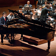 August 8, 2011 - Manhattan, NY : Conductor Pablo Heras-Casado, standing in center, pianist Peter Serkin, far left, and the International Contemporary Ensemble perform Igor Stravinsky's Concerto for Piano and Winds 1923-24 during Lincoln Center's Mostly Mozart festival at Alice Tully Hall on Monday evening. CREDIT: Karsten Moran for The New York Times