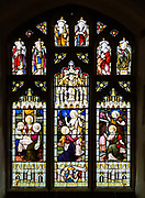 Stained glass window East Bergholt church, Suffolk, England, Last Supper, Resurrection, He is Risen c 1892 by Lavers, Barraud and Westlake