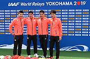 Members of the Japan 4 x 100m relay team, Yoshihide Kiryu,Yuki Koike, Ryota Yamagata and Shuhei Tada, pose during a news conference prior to the IAAF World Relays, Friday, May 10, 2019,  in Yokohama, Japan.