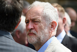 © London News Pictures. 09/05/2016. London, UK. Leader of the Labour Party, JEREMY CORBYN, greets new Labour MPs Chris Elmore and Gill Furniss (not pictured) outside the Houses of Parliament in London following elections last week. Photo credit: Ben Cawthra/LNP