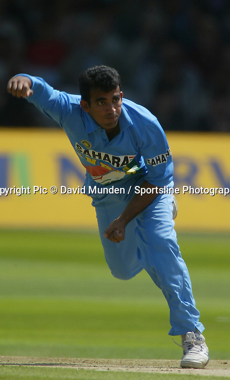 Zaheer Khan bowls during the final of the Natwest cricket series between India and England at Lords, England, 13 July 2002. Photo: Sportsline Photographic/ PHOTOSPORT