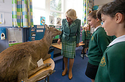 The Duchess of Cornwall, known as the Duchess of Rothesay in Scotland, during her visit to Crathie Primary School, Aberdeenshire.