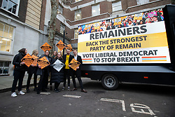 © Licensed to London News Pictures. 10/12/2019. London, UK. Liberal Democrat supporters launch the party's final campaign poster in Westminster. Photo credit: George Cracknell Wright/LNP