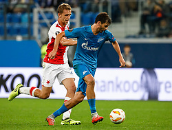 October 4, 2018 - Saint Petersburg, Russia - Aleksandr Erokhin (R) of FC Zenit Saint Petersburg and Tomas Soucek of SK Slavia Prague vie for the ball during the Group C match of the UEFA Europa League between FC Zenit Saint Petersburg and SK Sparta Prague at Saint Petersburg Stadium on October 4, 2018 in Saint Petersburg, Russia. (Credit Image: © Mike Kireev/NurPhoto/ZUMA Press)
