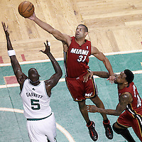 07 June 2012: Miami Heat small forward Shane Battier (31) vies for the defensive rebound with Boston Celtics power forward Kevin Garnett (5) during first half of Game 6 of the Eastern Conference Finals playoff series, Heat at Celtics at the TD Banknorth Garden, Boston, Massachusetts, USA.