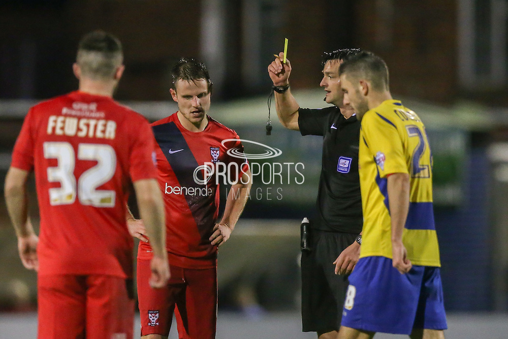 York City midfielder James Barrett  with a yellow card  during the Sky Bet League 2 match between York City and Accrington Stanley at Bootham Crescent, York, England on 28 November 2015. Photo by Simon Davies.