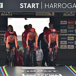 22-09-2019: WK wielrennen: Team Relay: Yorkshire <br />Nederland is wefrledkampioen Mixed Team Realy geworden. De ploeg bestond uit RIejanne Markus, Amy Pieters, Lucinda Brand, Bauke Mollema, Koen Bouwman en Jos van Emden