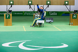 Winner Vasyl Kovalchuk of Ukraine reacts during Final of R5 - Mixed 10m Air Rifle Prone SH2 on day 6 during the Rio 2016 Summer Paralympics Games on September 13, 2016 in Olympic Shooting Centre, Rio de Janeiro, Brazil. Photo by Vid Ponikvar / Sportida