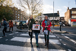 "© Licensed to London News Pictures. 25/11/2017. London, UK. Rebecca Ratcliffe (R), Martin Rollier (C) and Charlotte Samuel (L) deliver a ""Mothers Open Letter"" to His Excellency Sayyed Ali Hosseini Khamenein at the Islamic Centre England calling for the immediate release of British Iranian Nazanin Zaghari-Ratcliffe who remains in prison in Iran. Photo credit: Rob Pinney/LNP"