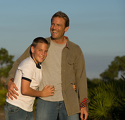 father and son outdoors enjoying time together