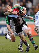 Twickenham, GREAT BRITAIN, Quins, Mike BROWN, tackled by Bath's Alex CROCKETT,  during the Guinness Premiership match, Harlequins vs Bath Rugby at the Twickenham Stoop.  Sun. 16th Feb 2008. 16.03.2008.  [Mandatory Credit, Peter Spurrier/Intersport-images]