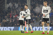 Fulham defender Calum Chambers (5) celebrates his goal with Fulham midfielder Jean Michael Seri (24) 1-2 during the Premier League match between Fulham and Brighton and Hove Albion at Craven Cottage, London, England on 29 January 2019.