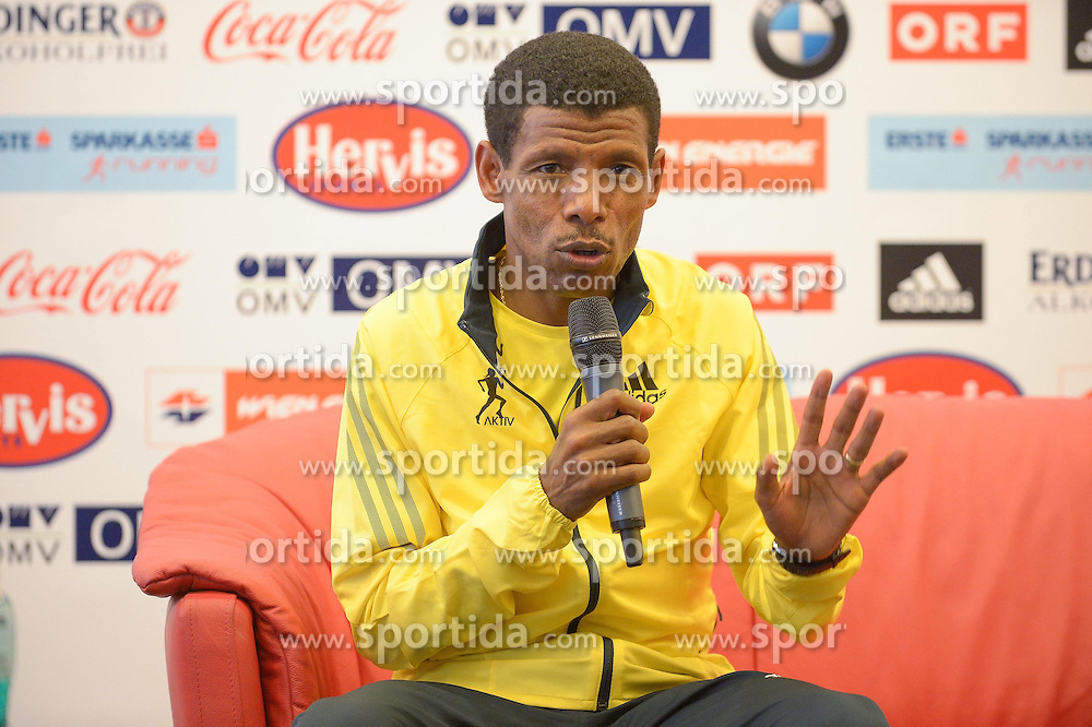 12.04.2013, Hotel NH Danube City, Wien, AUT, Vienna City Marathon 2013 Pressekonferenz mit Haile Gebrselassie, im Bild Haile Gebrselassie, KEN // during Vienna City Marathon 2013 Press Conference with Haile Gebrselassieat the Hotel NH Danube City, Vienna, Austria on 2013/04/12. EXPA Pictures © 2013, PhotoCredit: EXPA/ Gerald Dvorak