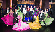 Strictly Ballroom The Musical <br /> Press photocall / publicity stunt <br /> at Cafe de Paris, London, Great Britain <br /> 14th February 2018 <br /> <br /> <br /> <br /> Will Young <br /> Zizi Strallen <br /> Jonny Labey<br /> <br /> And company <br /> <br /> Photograph by Elliott Franks