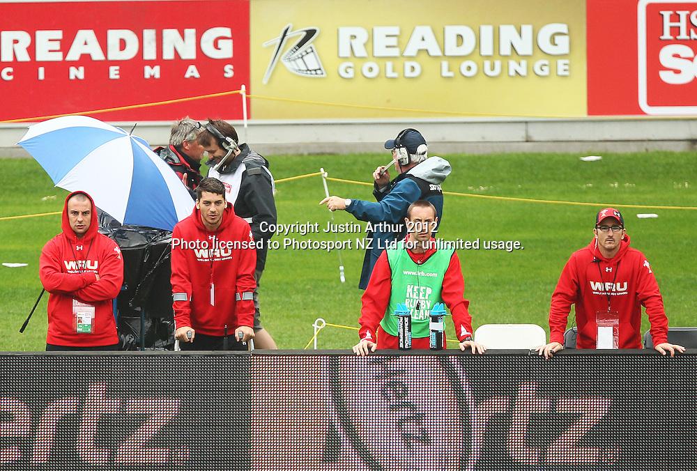 Wales coaching staff watch the game. Hertz Wellington Sevens - Day two at Westpac Stadium, Wellington, New Zealand on Saturday, 4 February 2012. Photo: Justin Arthur / photosport.co.nz