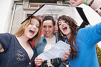 15/08/2012. Hannah Porter, Kersty Bornstein, and Clodagh Moran from Yeats College Galway who were delighted with their leaving Certificate results. Photo:Andrew Downes.