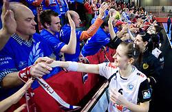 Ana Gros of Krim with fans of Krim at handball match of Round 5 of Champions League between RK Krim Mercator and Metz Handball, France, on January 9, 2010 in Kodeljevo, Ljubljana, Slovenia. (Photo by Vid Ponikvar / Sportida)