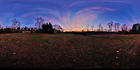 Autumn Dawn Clouds. Panoram 360 View. Composite of 41 mage taken with a Nikon D850 camera and 8-15 mm fisheye lens (ISO 100, 15 mm, f/5, 1/30 sec). Raw images processed with Caputure One Pro and Autopano Giga Pro.