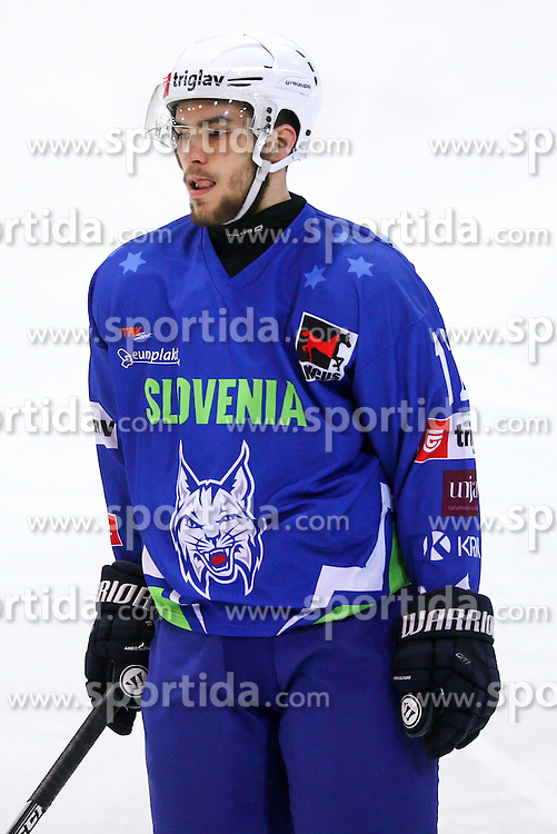 Zan Jezovsek of Slovenia during friendly ice hockey match between Slovenia and Croatia, on April 12, 2016 in Ledena dvorana, Bled, Slovenia. Photo By Matic Klansek Velej / Sportida