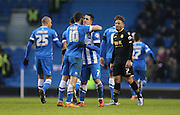 Brighton central midfielder, Beram Kayal (7) scores to make it 3-2 and celebrates during the Sky Bet Championship match between Brighton and Hove Albion and Bolton Wanderers at the American Express Community Stadium, Brighton and Hove, England on 13 February 2016.